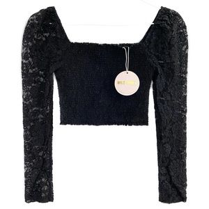 WILD HONEY Long Puff Sleeve Lace Shirred Crop Top